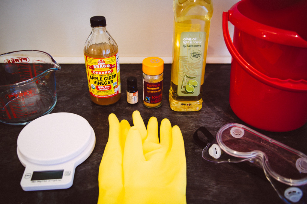 everything you will need for a basic soap recipe. Note: there is no caustic soda in the picture, while vinegar is there mainly for cleaning and safety (neutralizing lye if necessary) purposes.