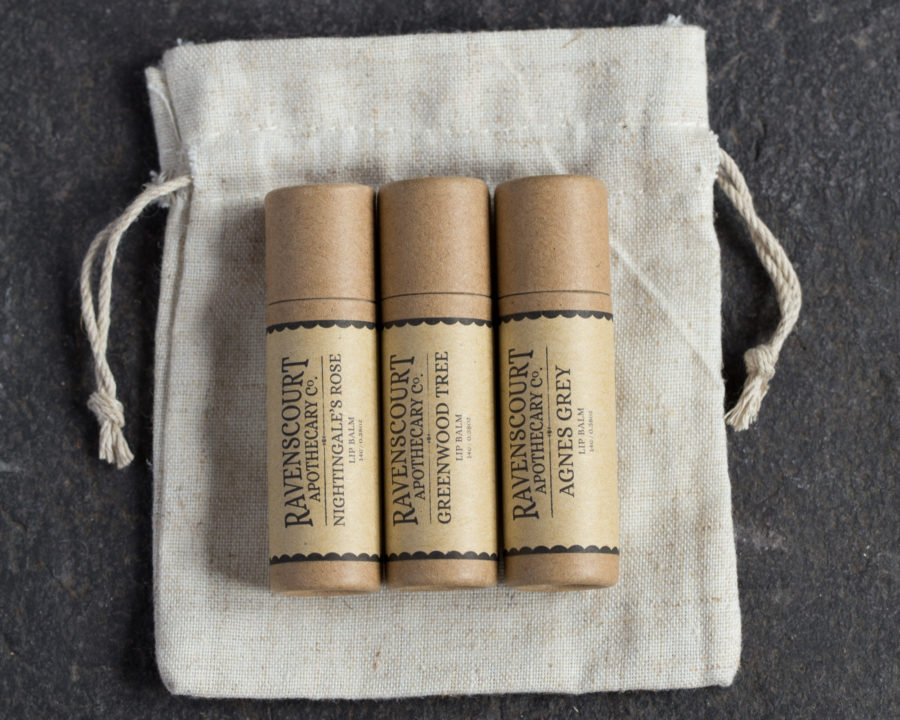 Vegan Lip Balm Set in a linen bag