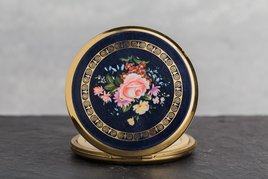 Vintage Compact Solid Perfume - pink flowers on black - front