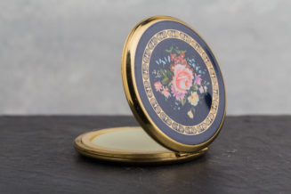 Vintage Compact Solid Perfume - pink flowers on black - side