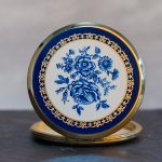 Vintage Compact Solid Perfume: blue roses on gold - front