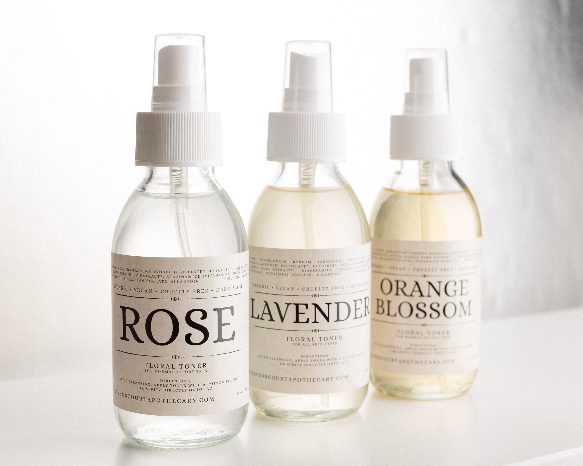 Organic Floral Toners: Rose, Lavender and Orange Blossom