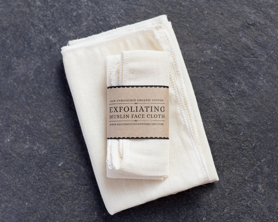 100% unbleached organic muslin face cloth